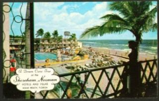Shoreham Norman Hotel Miami Beach FL postcard 50s: Entertainment Collectibles