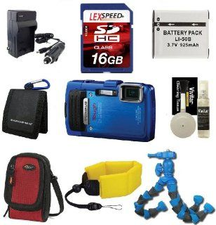 Olympus Tough TG 830 iHS (Blue) + Floating Strap + Battery + 16GB + Flexpod + Case + Travel Charger : Point And Shoot Digital Camera Bundles : Camera & Photo