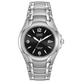 Mens Citizen Eco Drive™ Titanium Watch with Black Dial (Model
