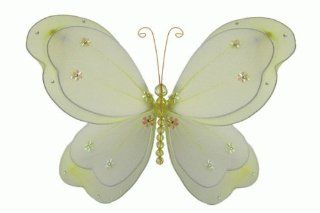 """Hanging nylon butterfly craft nursery bedroom girls room ceiling wall decor, wedding birthday party baby bridal shower decorations   Chloe Butterfly Room Decor   5"""" yellow   Unique Decorative Items"""