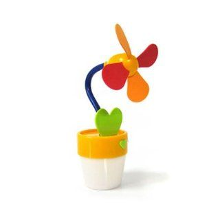 Yellow Flower Pot Soft Blades Quiet Usb Or Battery Operated Small Cooling Fan Flower Pot Light Computers & Accessories