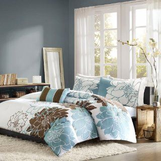 Home Essence Chloe 4 Piece Bedding Set, Queen, Blue   Comforter Sets