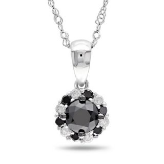 Black and White Diamond Frame Pendant in 10K White Gold   17   Zales