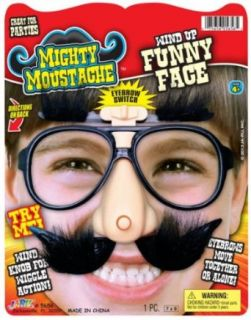 JA RU Mighty Moustache Wind Up Funny Face: Clothing