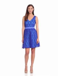 Hailey by Adrianna Papell Women's Fit and Flare Lace Cocktail Dress, Blue/Multi, 10 at  Women�s Clothing store: