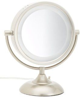 Jerdon HL855NPP 8.5 Inch Tabletop Two Sided Swivel Halo Lighted Vanity Mirror with 8x Magnification, 16 Inch Height, Nickel Finish  Personal Makeup Mirrors  Beauty