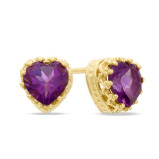 0mm Heart Shaped Amethyst Crown Earrings in Sterling Silver with 14K