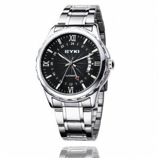 EYKI Men's Stainless Steel Calendar Automatic Mechanical Wrist Watch EFL8552AG Silver Band Black Face: Watches