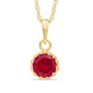 0mm Lab Created Ruby Crown Pendant in Sterling Silver with 14K Gold
