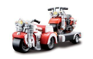 Harley Davidson Red Trike and Red 883 Sportster Kids Cycle Town Road Trip Haulers 3 Piece Se: Toys & Games