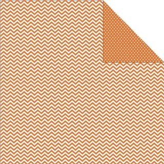 "Sn@p Color Vibe Double Sided Cardstock 12""X12"" Orange Chevron/Mini Dot 25 per pack"