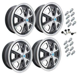 EMPI 914 STYLE ALLOY WHEEL PACKAGE, 4 LUG VW BUG, GHIA, TYPE 3, 4PC SET, #9681 GLOSS BLACK, 15 X 5, 4 ON 130MM: Automotive