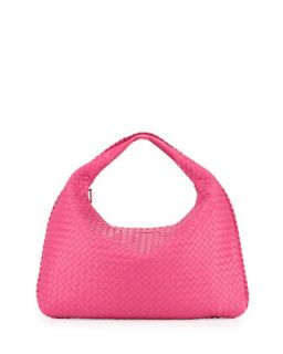 Woven Leather Sac Hobo Bag, Fuchsia   Bottega Veneta