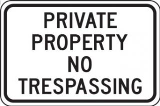"""Accuform Signs FRP903RA Engineer Grade Reflective Aluminum Designated Parking Sign, Legend """"PRIVATE PROPERTY NO TRESPASSING"""", 18"""" Width x 12"""" Length x 0.080"""" Thickness, Black on White Industrial & Scientific"""