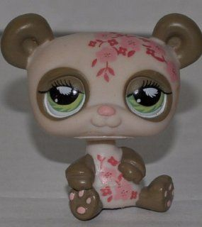Panda Bear #904 (Hand on Toe, Cream/Tan, Green Eyes, Pink Flowers on body) Littlest Pet Shop (Retired) Collector Toy   LPS Collectible Replacement Single Figure   Loose (OOP Out of Package & Print)