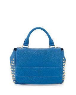 Keana Studded Lambskin Satchel Bag, Blue   MCM