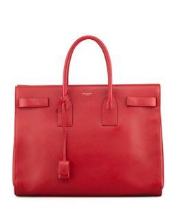 Classic Sac De Jour Leather Tote Bag, Red   Saint Laurent