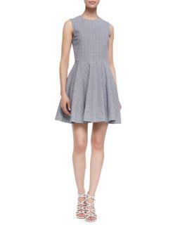 Womens Jeannie Fit and Flare Sleeveless Dress, Blue/Cream   Diane von