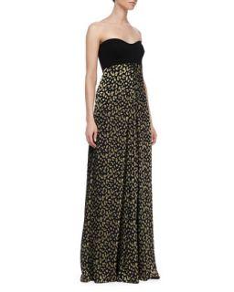 Womens Adriana Strapless Silk Leopard Print Maxi Dress   Diane von Furstenberg