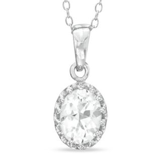 Oval Lab Created White Sapphire Crown Pendant in Sterling Silver
