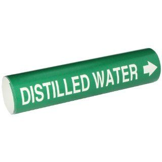 """Brady 4047 D Bradysnap On Pipe Marker, B 915, White On Green Coiled Printed Plastic Sheet, Legend """"Distilled Water"""": Industrial Pipe Markers: Industrial & Scientific"""