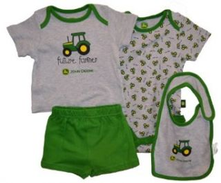John Deere Future Farmer 4 Piece Layette Set Green (3 Month): Pajama Sets: Clothing