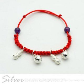 925 sterling silver red string baby peanuts bracelet jewelry: Jewelry