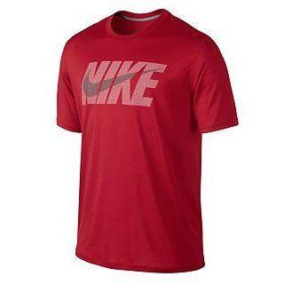 Nike LEGEND NSWOOSH SS TEE (Medium, GYM RED//DK GREY HEATHER) Clothing