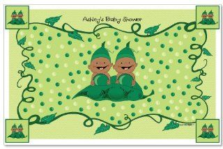 Twins Two Peas In A Pod African American   Baby Shower Personalized Placemats: Toys & Games