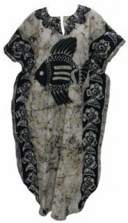 La Leela Fish Printed Hand Batik 100% Cotton Plus Size Long Kaftan Caftan Nightgowns