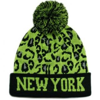 City Hunter Sk950 Leopard New York Pom Beanie   Black/lime at  Men�s Clothing store: Knit Caps