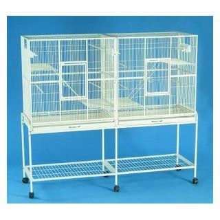 """New Large Wrought Iron Double Cage w/ Slide Out Divider 3 Levels Ferret Chinchilla Sugar Glider Cage 61""""Length x 18""""Depth x 56""""Height W/Stand on Wheels *Egg Shell White*  Small Animal Houses"""