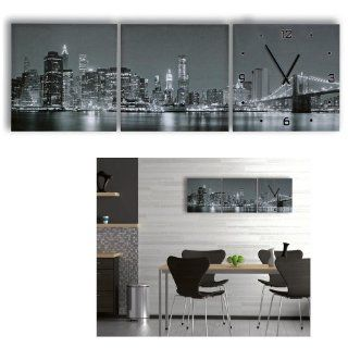 "Set of 3 Color Wall Clocks + Pictures   Travel Photography "" NYC New York City Skyline Day   Night   Black   White "" Wall Clock Inclusive 2 Pictures   Photography Wall Frame Set"