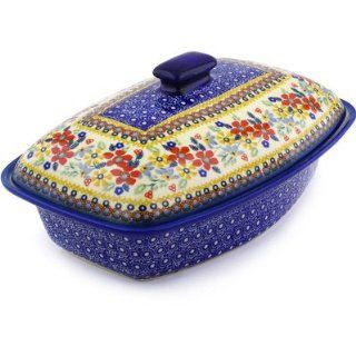 Polmedia Polish Pottery 13 inch Stoneware Baker with Cover H5292F Hand Painted from Manufaktura in Boleslawiec Poland. Shape S852D(Z151) Pattern P6798A(DPLC) Unikat   Baking Dishes