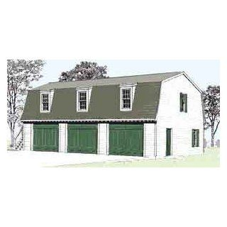 Garage Plans Colonial Williamsburg Style, Three Car Garage With Gambrel Attic Truss Roof   Plan 975 6.4   (4) Copies Of Plans