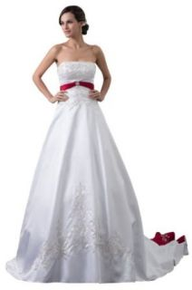 Golden Bridals Women's Strapless Princess Lace Wedding Dress  M White at  Women�s Clothing store: