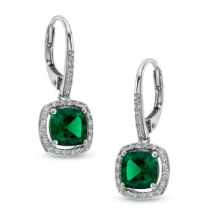 0mm Cushion Cut Lab Created Emerald and White Sapphire Frame Drop
