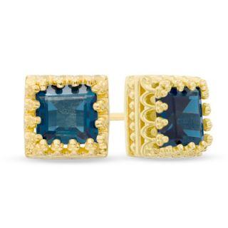 0mm Princess Cut London Blue Topaz Crown Earrings in Sterling Silver
