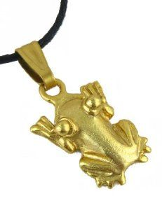 Pre Columbian Costa Rica 24k Gold Plated Mini Frog with Striped Fingers Pendant   Charm: Jewelry