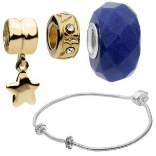 Amadora Sterling Silver Bracelet & Three Charm Set      Womens Accessories