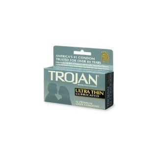 Trojan Ultra Thin Lubricated Latex Condom   12 ea: Health & Personal Care