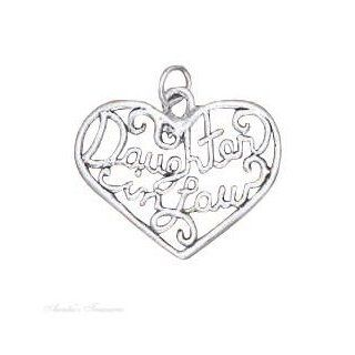 "Sterling Silver 18"" .8mm Wide Box Chain Necklace With ""DAUGHTER In LAW"" Open Filigree Heart Pendant: Jewelry"