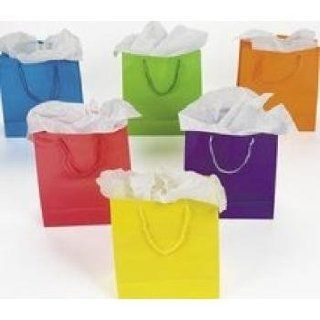 1 Dz Paper Gift Bags   Medium 9 Inch   12 Bags Per Order  BRIGHT NEON SOLID   Gift Wrap Bags