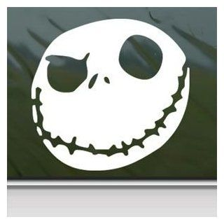 Nightmare Before Christmas White Sticker Decal Jack Skellington White Car Window Wall Macbook Notebook Laptop Sticker Decal: Automotive
