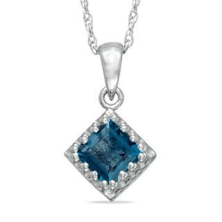 0mm Princess Cut London Blue Topaz Crown Pendant in Sterling Silver
