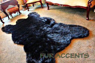 Soft Faux Fur /7' Black Old Bear Skin Accent Rug / Fake Pelt Design / Bear Shag / Single Pelt Shape / 60'' x 80''   Area Rugs