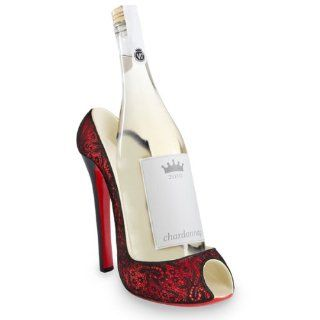 Red with Black Lace Women's Decorative High Heel Shoe Wine Bottle Holder   Wine Racks