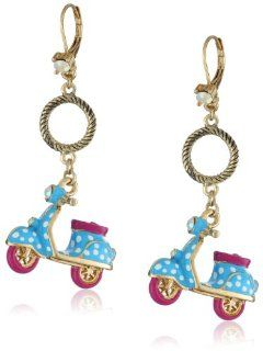 "Betsey Johnson ""Color Me Betsey"" Light Blue Polka Dot Vespa Drop Earrings: Jewelry"
