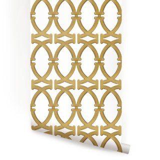 Links Gold Peel & Stick Fabric Wallpaper Repositionable   Temporary Wallpaper