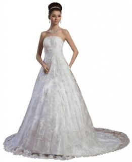Dearta Women's A Line Strapless Court Train Lace Wedding Dresses at  Women�s Clothing store